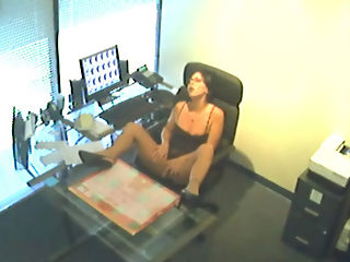 Work Break Fingering : Hot secretary gets busted for fingering her pussy while on the work clock and gets surprised when boss kicks door in!