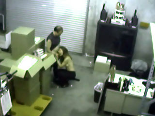 Warehouse BJ : The warehouse manager gets in a fight with the office manager so she sucks his dick to get what she wants and is caught on security cam!