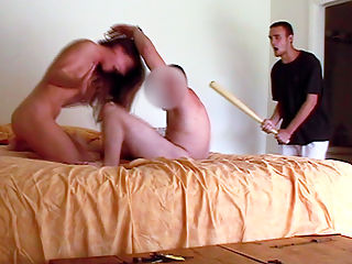 Revenge with a Bat! : Dude sets up a camera to bust his GF cheating and ends up chasing them naked with a basebal bat!!