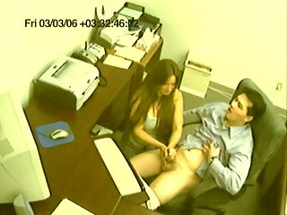 Boss Hand Job Spycam : Perverted boss sets up spycam to film his office girl giving him a handjob.