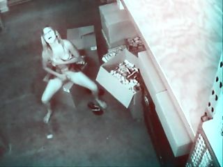 Pornshop Pussy Player : Chick working at porn shop jills off on security cam to the porn while stocking it
