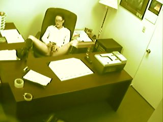 Secretary Toy Spy Cam : Hot office babe gets fimed fucking her pussy at her desk on office spy cam