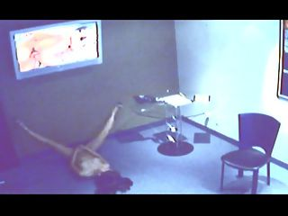 Spycam Office Porn Chick : Girl gets busted on security fingering her pussy to porn in the conference room