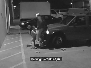 Security Guard Blowjob : Security guard demands blowjob to let a hooker go and is caught on security spy cam