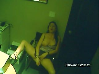 Copygirl Masturbator : She couldnt wait to play with her cunt and now the office security cam caught it on film