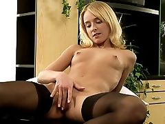 Hanna - Hanna strips from her black dress down to stockings and heels and reclines on an office desk to probe her pussy deeply with a thick glass dildo. She then takes a pocket rocket and holds it close to her clitoris as she moves the dildo in and out of her hot wet pussy.