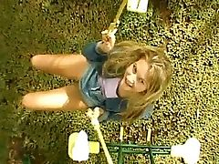 Sharon - Sharon slips off her panties and sits on a playground swing, pussy exposed to the breeze as she swings. Soon she pees, the golden fluid tracing a line below her on the ground in an ultimate act of freedom.