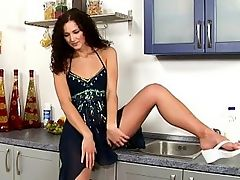 Andy - Andy is known to be a greedy girl and pussy gets fed today as she perches nude on the kitchen bench and force feeds fresh fruit into her orifice before smearing whipped cream all over herself, slipping in a little banana and then using an unpeeled banana as a dildo. The cupboard must be as bare now as Andy herself.