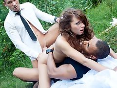 Gang bang in fresh air with slutty bride