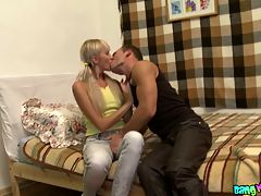 Blondie stretches tight anus : Finally this sweet blondie and her kinky boyfriend were left alone. Sure, they started kissing and caressing each other right away. At first, the cutie kneeled before her fucker and sucked his dong, then her fucked her tight pussy and, finally, moved on to banging her tight teen ass.