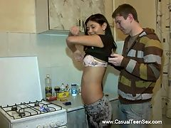 Thankful cutie pleases lad : When lad was returning back home, he saw a frozen figure. When he came closer, he saw a sexy teen cutie who, obviously, had some problems. He decided to help the cutie and that is why he brought her home where she rewarded him with all kinds of physical pleasures.