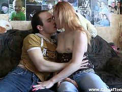 Teeny loves the taste of cum : When this guy told a cute teeny he met on the street a dirty joke and she laughed he knew she was up to having some good time with a total stranger. He wasnt kidding asking her to have sex with him and she didnt mind at all giving a perfect blowjob and taking cock from behind with no hesitation. It was just a great fuck with no strings attached and the best part was that she wanted to take a mouthful of cum and swallowed the whole load moaning of pleasure.
