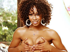 Misty Stone stuffed with white meat : Cocoa skinned Misty Stone may not have big tits, but her pussy is always wet and tight as hell!