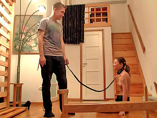 Leon and Flora : Flora not only gets her ass spanked in this Rough 18 sex, but she begs for it! The cute girl has a very naughty streak and knows that she needs discipline. Her new boyfriend Leon is happy to deliver and puts the unruly babe on a collar and leash. When she is restrained, he has her bend over and uses his leather whip to spank her fine ass. He uses the leash to guide his new pet into submissive positions while driving his cock hard into her tight pussy. Flora moans but is obedient during the Rough 18 sex, enjoying every moment of the naughty bdsm. As the horny girl gets closer to orgasm you can see her ass start twitching. When she finally cums, Leon takes his dick out and creams her face.