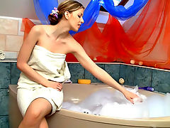 Hot tub for my pussy : There is nothing like slipping in to a nice hot bubble bath. The feeling of the crisp bubbles brushing my soft skin and the warm water caressing my bare shaved pussy always gets me in the right mood for fun!