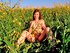 Alka : Alka is a stunning teen from Eastern Europe and every bit of her is all natural. The redhead teen looks right at home in a field as she strips from her little sun dress and masturbates amongst the flowers. While watching this Teendorf babe touching herself in the most intimate ways, you can see her creamy flesh turning pink with heat and passion. Alka makes sure to rub every bit of her soft body and budding curves, causing sensations to run through her while tweaking those tiny teen tits and massaging her swollen pink clit. The redhead teen girl gets right into the flowers and spreads her legs so you can see just how deep she slides her fingers up that delicious teen pussy.