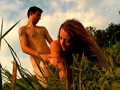 Aneta and Ales : This cute brunette looks so sweet and innocent, but in the middle of this field she reveals her tender body and a whole lot more to this lucky teen stud. She lets him unbutton her dress, revealing her blossoming womanhood. It also uncovers her out of control sex drive. Shes in heat, ready to have sex anytime or any place. The time is right now and the location is this field just outside of the town of Dorf. She mystifies with just how naughty she can be, yet at the same time so innocent.
