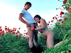Alka and Fill : Alka knew exactly what she was doing when she invited Fill on a walk. This Euro teen may look innocent but she is really a naughty seductress. The sexy Teendorf girl was eager for a big cock to put up her tight pussy and knew that Fill could fuck her like she deserves. The teens start to kiss and Fill slides off Alkas skirt to get at her pink pussy. He sticks his tongue right into the juicy folds and licks until the hot teen is moaning with pleasure. When Alka puts her moist lips around the boys rod, she knows just how to gently suck so that it begins to throb and turns rock hard. That big hard cock slides right into the girls tight snatch and makes her cum during the outdoors sex.