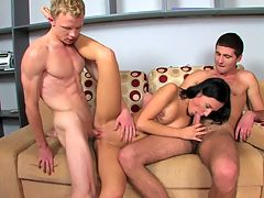 Kornel, Sabina and Teodor on video : Double-Stuffed Teen is always a favorite multi-course feast at Sex Fusion. There is nothing hotter than slipping your cock into a tight pussy while she gives your friend a blowjob. Except when you and your buddy switch and she licks your balls while he nails her doggy style.