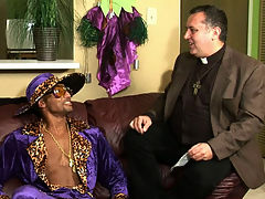 Karl : A pimp sodomizing a priest? This devilish debauchery of deviance could only happen on one night...Halloween! Karl of the cloth wanted pimped out soul brother Sly to end his unrighteous ways, but the only thing Sly was interested in worshiping was Karls saintly ass! This pimp carried a huge cock and a bad attitude...and he wasnt afraid to give Karls angelic anus a sphincter-splitting gay fucking that it would never forget!