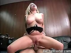 Pretty Babes Ass Drilling : This blonde babe is definitely the bomb! Look at how she did on this cock, gagging it roughly, and fucking it inside her tight ass, she really gives this guy some hard fucking time.