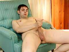 Walley : Hefty brown haired gay Walley jerking his big schlong on the couch