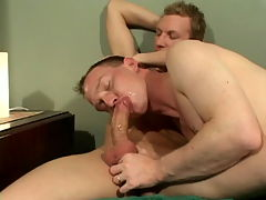 Adam : Spirited blonde gay Adam getting smashed by two impossible cocks