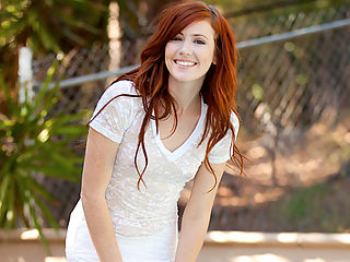 Red head gets hosed down outside and maturbates in the shower
