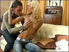 Nasty blonde teen anal fucked : This nasty lad wants to make young Janet a three whole whore and shes up for the challenge in this crazy video. After drinking a little wine she opens wide to give his fat dick one hell of a blowjob. It leaves him rock hard and throbbing and soon Janet will be bent over. He loves how tight her amazing ass is and his pecker is the next object to be inserted there. Janet willingly takes it all. He fucks her pussy too and then jizzes all over her pretty face.