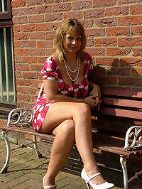 British milf wife outside in upskirt
