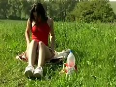 Teen exhibitionist masturbating outside : This teen is a real flasher and loves to strip and mastubate in public. Watc as she pulls down her knickers in the park and masturbates while we watch