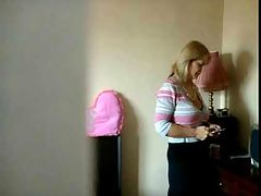 Busty British milf at home : Watch this busty British milf making her own home made porn film
