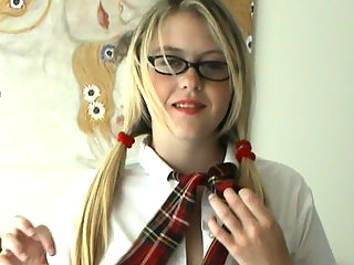 Big boobed school girl : Cute blonde teen Brooke dresses up in her sexy school uniform. Watch as she strips out of it all to play with her big natural boobs