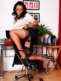 Danica the busty secretary in glasses wanking at her desk