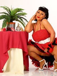 Danica Collins retro pinup girl in tan stockings