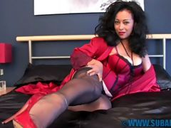 Danica Nylon Fantasy : Danica teasing in sexy red basque and panties, seamed silk stockings and red high heels.