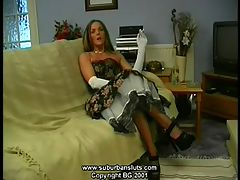Carissa Retro Raunch : Carissa dressed in retro lingerie, petticoat, ff stockings and high stiletto heels.