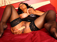 Toy Cock Play : Spreadeagled on the bed in sexy nylon stockings as I play with my little toy cock