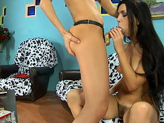 Rosa and Jenny mindblowing anal lesbian action : Boring lesbian girlfriends getting fun from strap-on ass-fucking exercises
