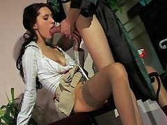 Judith and Mike naughty anal movie : A guy on vacation is lucky to be there but when the maid comes in and she and aposs a long legged beauty with a mini skirt and stockings and high heels on you know something is going to happen. Dude gets bold and as she is bending over cleaning he checks out that bunghole under that mini skirt and is soon sliding those panties off and stuffing her tight twat. He fucks that twat and then forces his boner down her throat so he can lube it up to plunder her tight little ass until he busts a big gooey nut in her asshole.