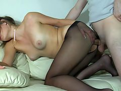 Gloria and Vitas sexy anal pantyhose video : Gloria is one a very sexy babe who loves showing off her pantyhose lady butt just to tease guys. Horny Vitas saw what was happening and popped a boner at the sight of Gloria. She was thrilled to encounter him and immediately went for his thick meaty member and devoured that bad boy. With his cock was lubed up he stuffed it hard deep inside her nasty lady fudgehole. That boy banged that asshole like crazy and then blew his wad inside that shitter of hers.