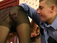 Bridget and Patrick nasty anal pantyhose action : This cadet was bored of having his throbbing hard cock being teased by the campus secretary as he knew she was a slutty anal whore who would take a guy and aposs cock deep up her ass at the office when no one else was around. Now it was his turn and he stopped by the office and sure enough it was the right time and this pantyhose anal slut begged him to stuff his thick meaty dick deep into her tight little asshole and pound her stupid and bust a fat nut in her.