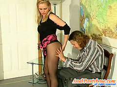 Susanna and Mike naughty anal pantyhose video : Blondie in barely black tights getting ass-ramming right at art exhibition