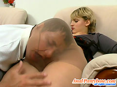 Amelia and Igor horny anal pantyhose movie : Horny guy sliding his cock under pantyhose waistband and cramming asshole