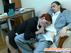 Agatha and Donald frisky anal pantyhose action : Female co-worker in lacy hose getting her ass packed right at working place
