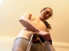 Greta and Marcus hardcore pantyhose action : Slutty babe punishing filthy guy for steamy games with her luxury hosiery