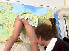 Nellie and Gilbert awesome pantyhose action : Upskirt gal in barely visible hose doing nasty things with her hot neighbor