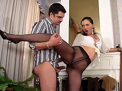 Laura and Adam perverted pantyhose scene : Laura wanted some hard cock and the only way was to get her boss to jump into that tight juicy pantyhose vagina and she was sure to lure Adam, her boss right into that pantyhose lady vagina of hers and let him have all of it. A s soon as Adam saw this fine brunette babe and that tight ass of hers in those pantyhose he popped a stiffy and soon after some heavy petting and maneuvering he was stuffing inch after inch of his blood filled employer and aposs cock into his employee Laura and aposs nasty pantyhose lady cunt like a wildman.