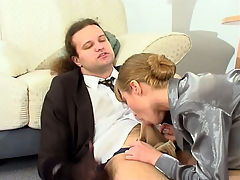 Diana and Lesley naughty pantyhose job scene : Lesley the boss was going to get hold of some of that booty from his secretary Diana because she and aposs one horny pantyhose bitch and everyone in the office knows about it. Diana and aposs wet pantyhose lady pussy was so desirable by Lesley that all he could think about was that tight pantyhose pussy of hers and soon the girl was sucking his cock and the race was on. She let him take that boss and apos thick meaty member and rub it on her pantyhose and then he started pounding her pantyhose cunt until he busted a fat juicy load in that sweet snatch of hers.