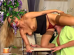 Susanna and Rolf anal mature on video : Susanna knew that young Rolf would be late again for his appointment so the nasty mommy slut told everyone to leave so that she could get at his throbbing youthful dick. Rolf always wanted to fuck her and now was his chance to stuff his pulsing fat dick into her gooeyfunky fudgehole. She made it easier for him to slide that boner into her ass by giving him a blowjob so the spit would lube it up and she squealed with delight as he squeezed that thick meaty member of his deep inside her nasty mom fudgehole.